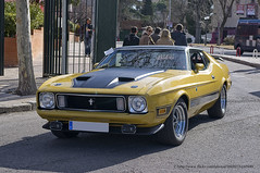 first generation ford mustang(0.0), automobile(1.0), automotive exterior(1.0), vehicle(1.0), automotive design(1.0), ford mustang mach 1(1.0), compact car(1.0), ford(1.0), antique car(1.0), sedan(1.0), land vehicle(1.0), muscle car(1.0), sports car(1.0),