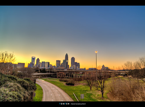 sunset skyline nc charlotte hdr queencity centralavebridge