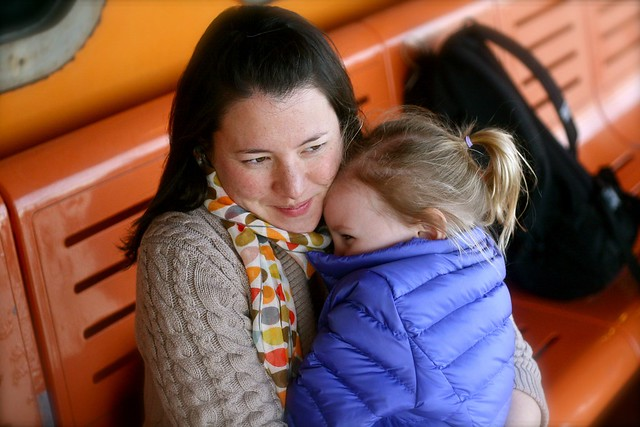 Mummy Zo hugging - Staten Island Ferry March 2012
