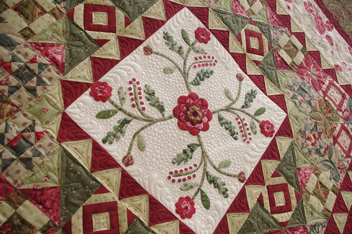 Quilts on bastings applique medallion quilt