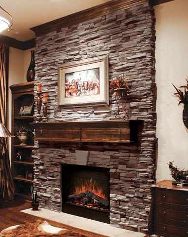 Virginia ledge cape cod grey stone veneer fireplace - Stacked stone fireplace pictures ...