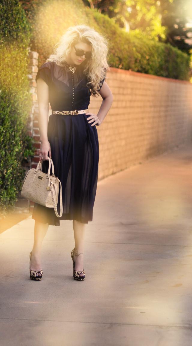 sheer navy dress - big hair-brahmin bag-leopard accessories