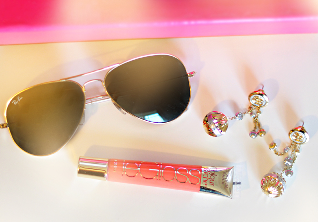 Ray ban aviators-loreal lip gloss-seah watches earrings-gemini