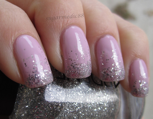 Revlon Lilac Pastelle with Silver Glitter Tips