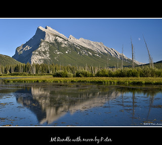 Mt Rundle with moon