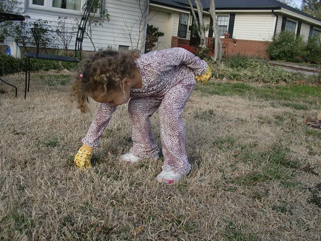 Aubri Helping Me Pull Weeds