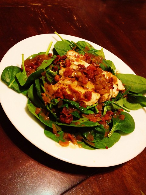 Spinach Salad with Chicken and Warm Bacon Vinigrette