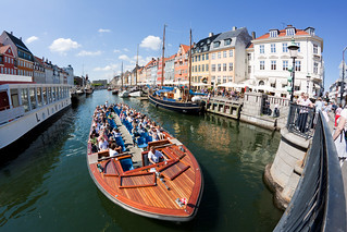 Fisheye and tour boat in Nyhavn #3