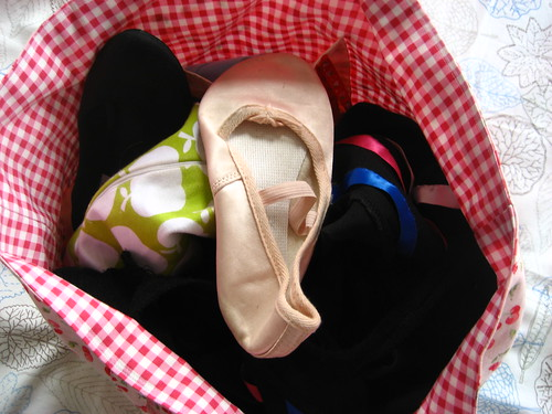Inside the ballet bag - all stuffed in any old how