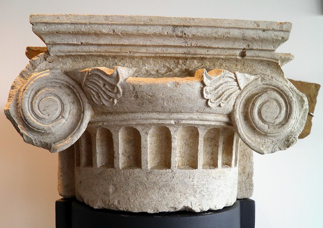 Ionic pilaster capital from the palace complex of Pella which occupied the entire extant of the hill dominating the ancient city, Archaeological Museum, Pella