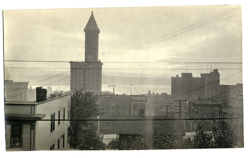 View of Smith tower and Elliot Bay, Seattle 1920s