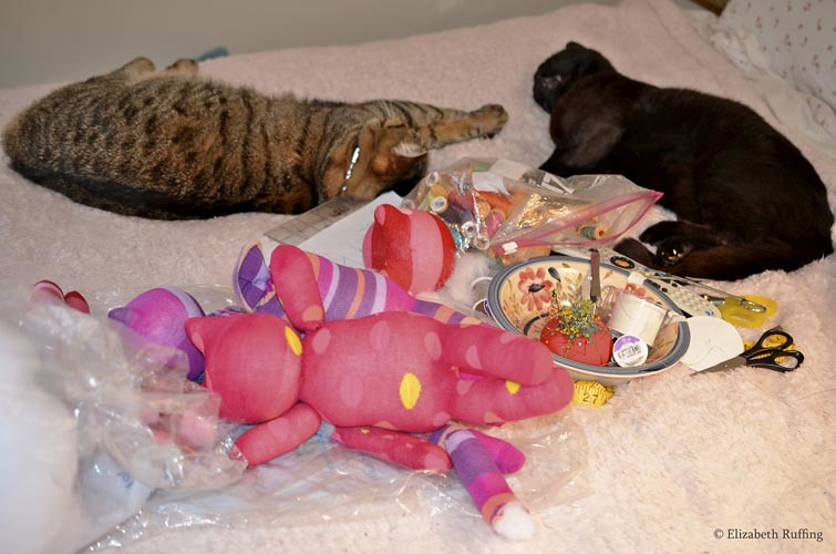 Hug Me Sock Kittens in progress, original art toys by Elizabeth Ruffing, with sleeping cats