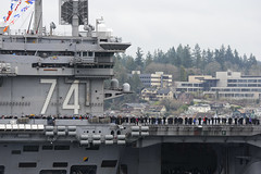 BREMERTON, Wash. (March 2, 2012) Sailors man the rails aboard the Nimitz-class aircraft carrier USS John C. Stennis (CVN 74) as the ship returns to homeport at Naval Base Kitsap-Bremerton after completing a seven-month deployment. (U.S. Navy photo by Mass Communication Specialist 3rd Class Ian Cotter)