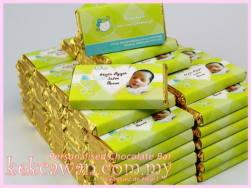 Personalised Choc Bar - Apple Green Theme for Aqiqah