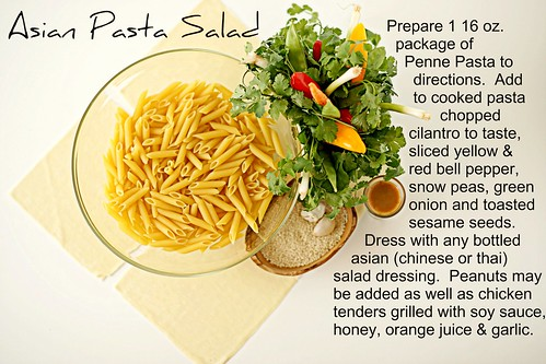 asian pasta salad overhead