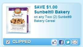 Sunbelt Bakery Cereal  Coupon
