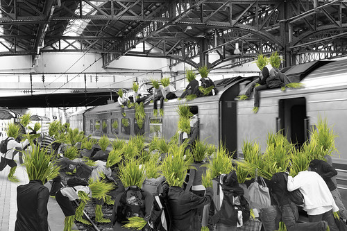 Grass people escape from railway train station