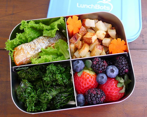 Salmon and Kale Quad Bento by sherimiya ♥