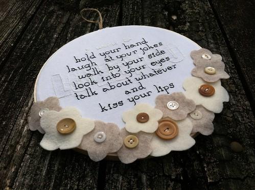 love you embroidery w/felt flowers