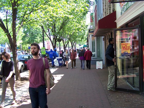 People out on a Sunday on 8th Street SE, Barracks Row