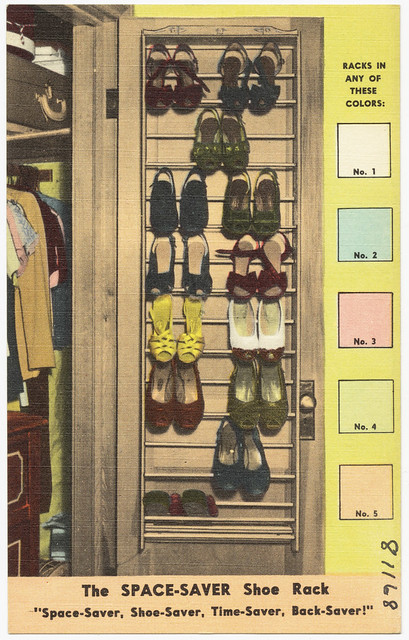 "The Space-Saver shoe rack, ""Space-saver, shoe-saver, time-saver, back-saver!"""