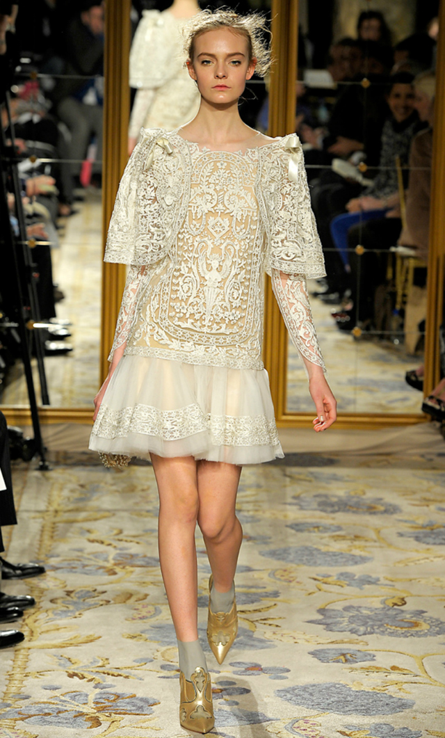 Marchesa 2012 lace embroidered dress with cape