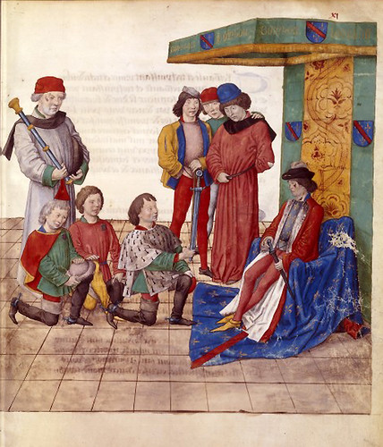 006-Le libre des tournois…1460- René d' Anjou-Français 2692, fol. 11-Señor desafiado aceptando el reto