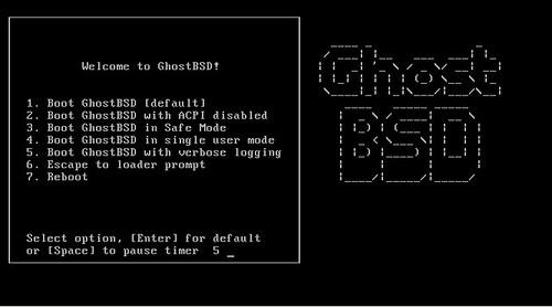 загрузка GhostBSD 2.0