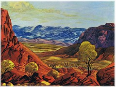 Central Australian Landscape, watercolour by Ewald Namatjira (1930-1984).