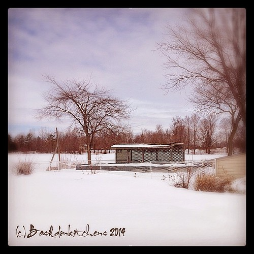 30/3/2014 - pool {the neighbors pool; still safely tucked in for winter}. Still lots of snow! #photoaday #pool #winter #snow #spring #princeedwardcounty #millerroad