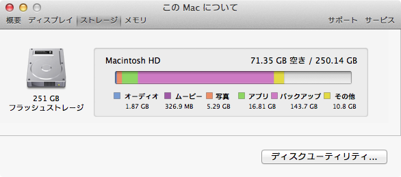 MacBook Airストレージ