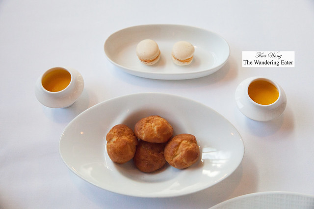 Amuse bouches - Pimento cheese macarons, shots of sweet potato soup, gougeres
