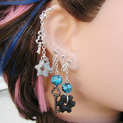 Key and cog silver, black and blue chain earring