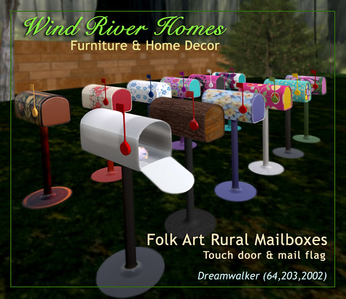 Rural Folk Art Mailboxes by Teal Freenote