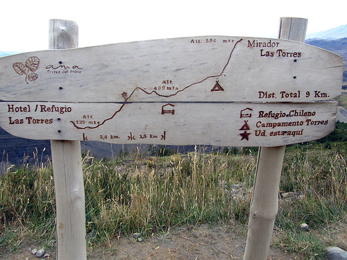 Sign on the path to Torres del Paine