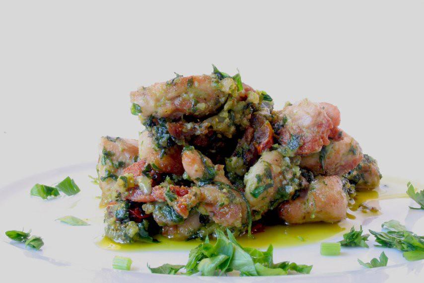 κοτόπουλο με πέστο ρόκας, chicken with rocket pesto