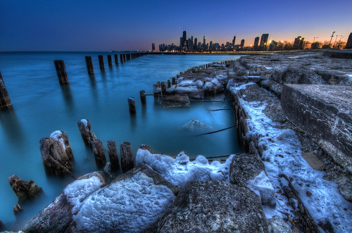 city blue sunset lake snow chicago beach water skyline illinois high nikon long exposure dynamic michigan sigma hour 1020mm range fullerton hdr d90 photomatix
