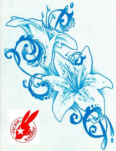 flower tattoo design by jackie rabbit