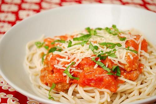 Creamy Bolognese Over Spaghetti