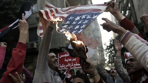 Egyptians demonstrate outside the United States embassy in Cairo. Anti-US sentiment is growing in the North African state. by Pan-African News Wire File Photos