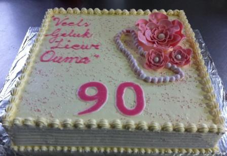 90th Birthday Sheet Cake Fondant Flowers And Pearls