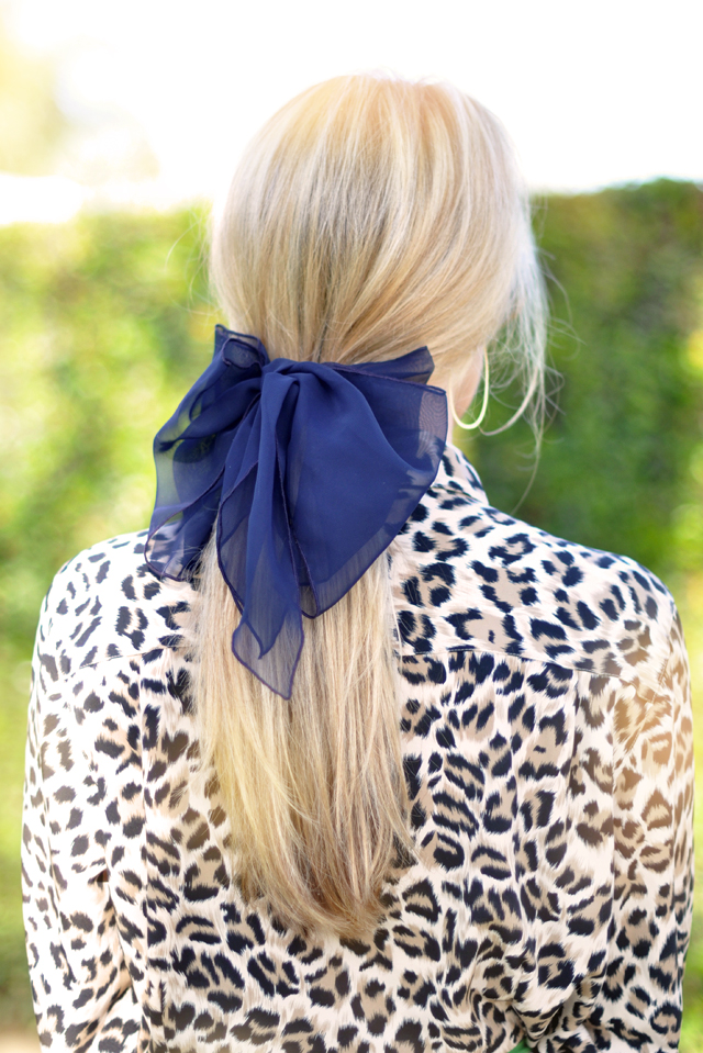 big chiffon adult hair bow and low ponytail