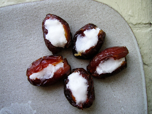 dates stuffed with coconut oil