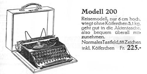 Continental 200 typewriter