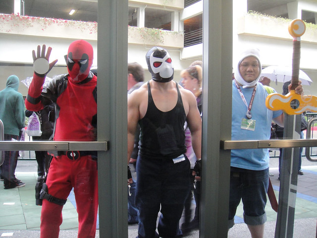 WonderCon 2012 - Deadpool, Bane, and Finn from Adventure Time through glass