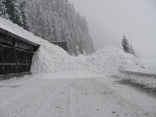 Avalanche control work at the snowshed