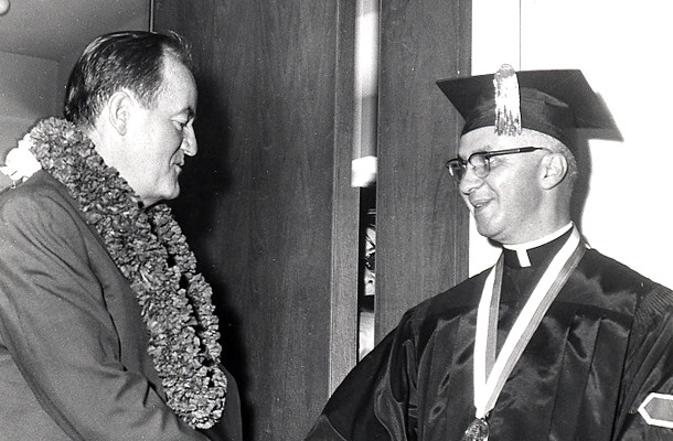 <p>Vice president Hubert H. Humphrey greets Regent Monsignor Charles Kekumano on January 2, 1966 prior to receiving an honorary degree.</p>