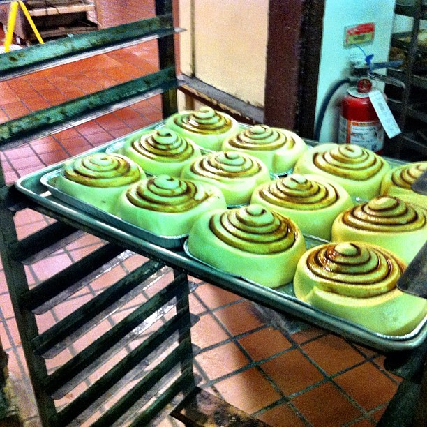 Hello cinnamon roll deliciousness...going into the oven. #knottsphotos