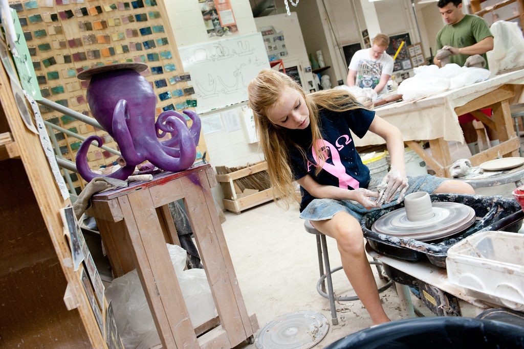 Art facilities include a foundry, electric and gas kilns, a darkroom, a woodworking shop, a printmaking studio and drawing and painting studios.