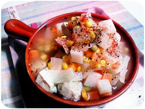晚餐 ::: 洋蔥+白蘿蔔+三色蔬菜+百頁豆腐+虱目魚丸湯 by 南南風_e l a i n e